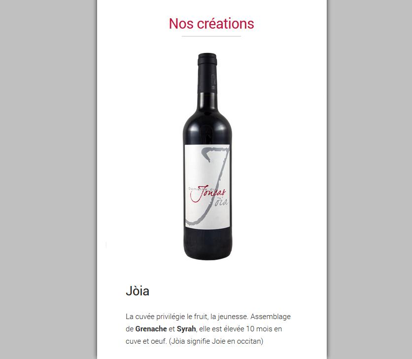 Site Internet Responsive : Domaine Du Joncas (Hérault, 34)