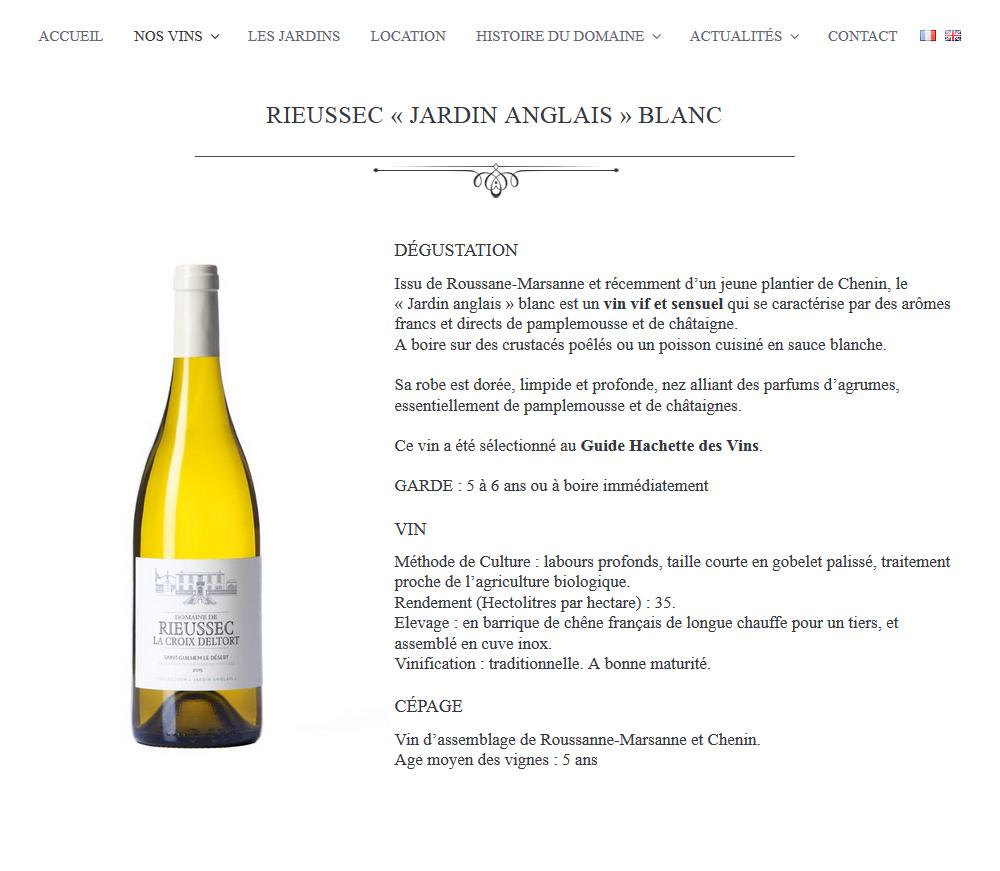 Création De Site Web : Domaine De Rieussec (Gignac, 34)