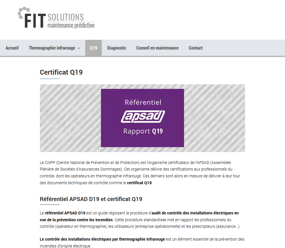 Website Design: FIT Solutions, Thermoraphy In France