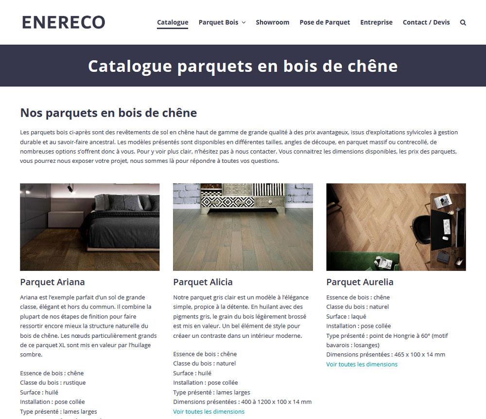 Creation Site Internet Catalogue ENERECO Parquet